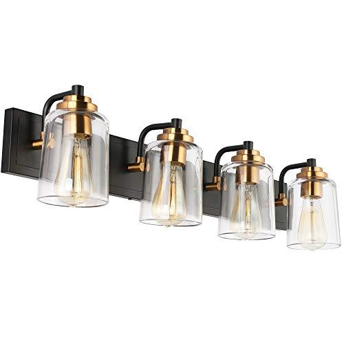 SOLFART Vintage Vanity Lighting Fixtures for Bathroom Modern Glass Shade Black with Bronze Wall Lamp Sconce Lights for…