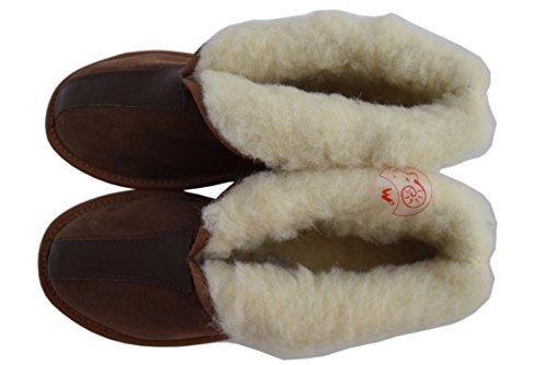 Natleat Slippers Womens Mens Unisex Natural Leather Sheepskin Slipper Boots, Damen Stiefel & Stiefeletten  braun braun, braun - Suede Brown / 2 - Größe: 38