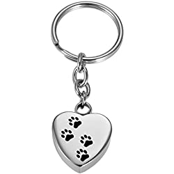 VALYRIA Silver Memorial Pet/Dog Paw on Heart Keychain Pet Urn Keepsake Charm Ashes Keyring