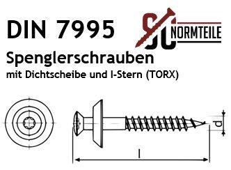 Innensechsrund 4,5x20 mm DIN7995 Edelstahl A2 V2A - 10 St/ück Spenglerschrauben mit EPDM Dichtscheibe 15 mm TX SC-Normteile TORX