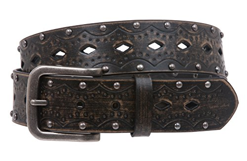 Embossed Studded Belt - Snap on Studded Vintage Embossed Jean belt, Black | M/L - 36