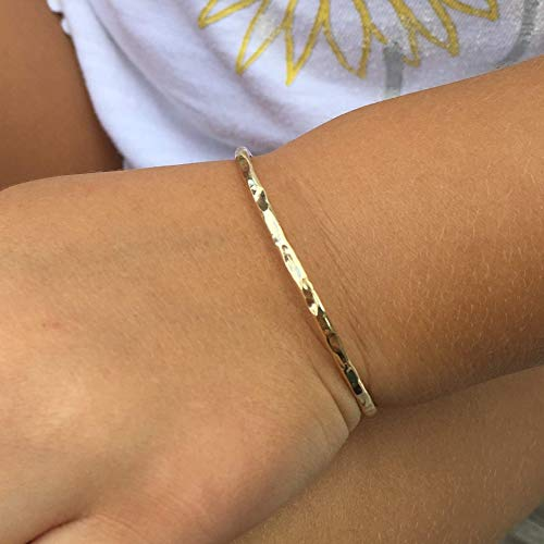 Little Girls Bangle Bracelet - Gold Fill Children's Jewelry - Keepsake For Baby Girl (fits up to 2 years old ONLY)