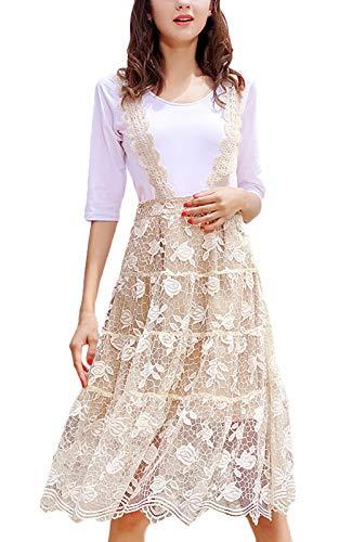 23a962ea5757 Linea Magliette Donna Collo Ad Vestiti Rotondo Manica Pizzo A Due Locker Estivi  Elegante Corta Moda Casual Anni Vestito ...