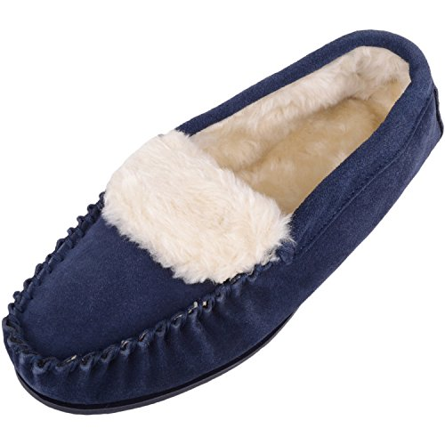 Absolute Footwear Ladies/Womens Suede Sheepskin Moccasins/Slippers with Rubber Sole Navy