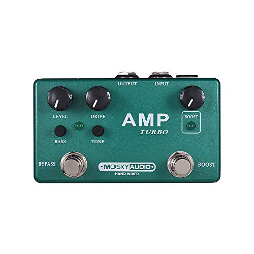 (Guitar Effect Pedal Boost + Classic Overdrive Effects AMP TURBO 2-in-1 MOSKY Full Metal Shell with True Bypass)