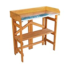 northbeam Folding Utility Table and Potting Bench, Natural Stained
