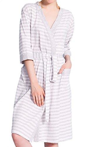 Happy Mama Para Mujer Pijama Premamá Embarazo Lactancia Estampado de Rayas. 394p Bata - Gris Claro