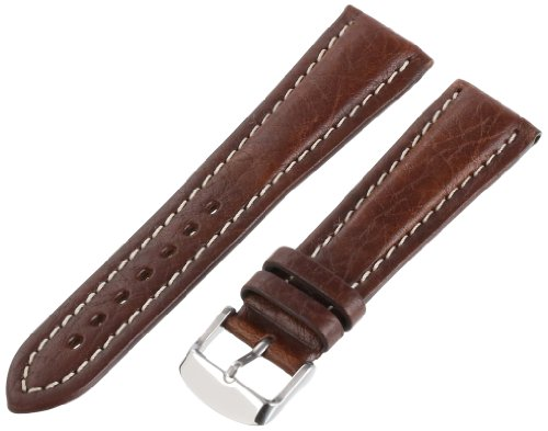 Hadley-Roma Men's MSM886RB-220 22-mm Brown Genuine Shrunken Leather WatchStrap (Shrunken Leather)