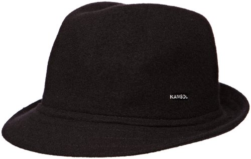 Kangol Fedora Hats (Kangol Men's Wool Arnold Trilby, A Classic Stingy Brim Fedora, Black (Large))