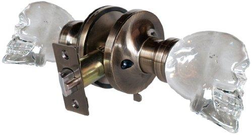 York 3733APR Skull Privacy Doorknob, 2.5-Inch, Antique Brass ()