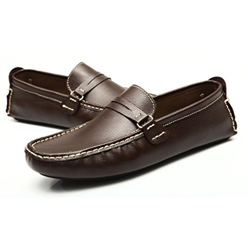Tda Heren Streep Lederen Mocassin Loafers Rijden Schoenen Comfort Instappers Loafers Flats Bruin