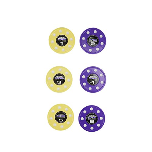 Set of 6 Purple and Yellow UFO Disc Dive Swimming Pool Game Toys 3.75