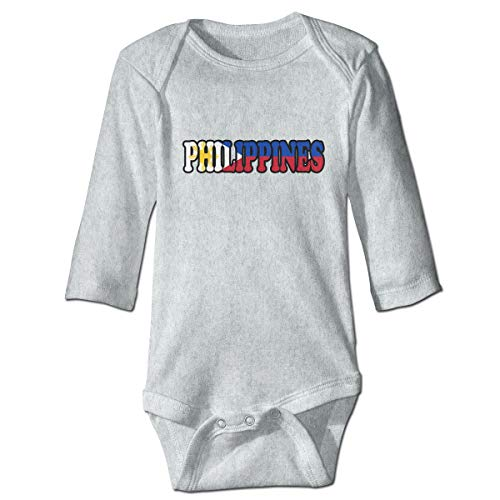A14UBP Baby Infant Toddler Romper Bodysuit Philippines Flag Print Long Sleeve Underwear Babies Gray