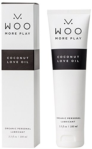 Lubricant - Woo More Play Coconut Love Oil (3.3 oz) - Designed With Feminine Sensuality in Mind - pH Balanced - All-Natural Ingredients - Made to Moisturize and Excite - Organic - Raw - Non-GMO - Love Jelly