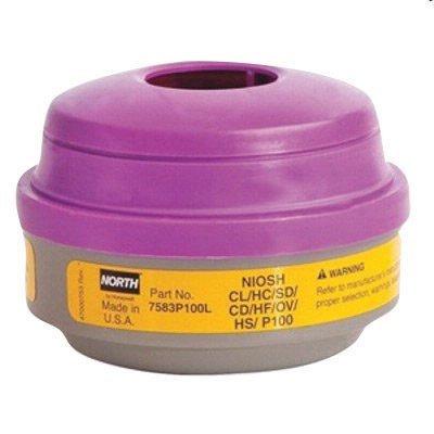 North by Honeywell 7583P100L P100 Combination Acid Gas and Organic Vapor Cartridges, Yellow/Magenta by Honeywell