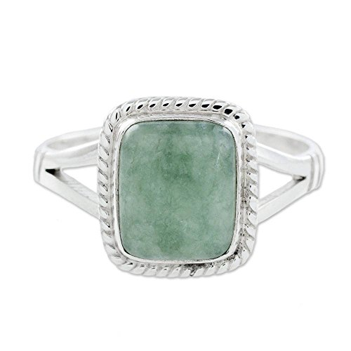 NOVICA Square Light Green Jade .925 Sterling Silver Cocktail Ring, 'Life Divine' ()
