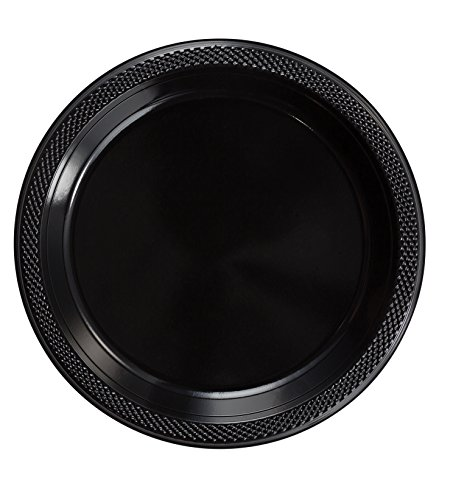 Exquisite 10 Inch. Black Plastic Dessert/Salad Plates - Solid Color Disposable Plates - 50 -