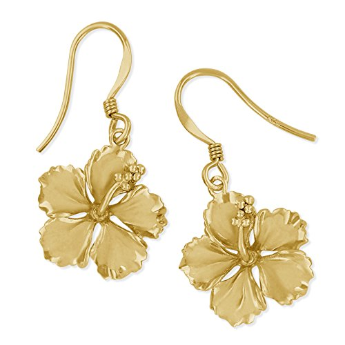 14kt Yellow Gold Plated Sterling Silver 5/8 Inch Hibiscus Dangle Earrings