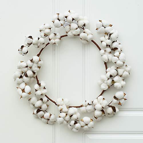 Lvydec Cotton Wreath Decor, 16-20 Adjustable Cotton Stems Wreath with Full White Fluffy Cotton Bolls for Farmhouse Decor Front Door Wall Wedding Centerpiece