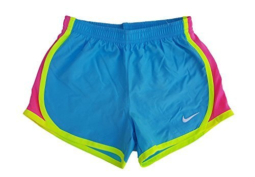 Nike Little Girls Tempo Shorts (4, Clearwater/Volt/Pink) by Nike