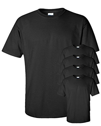 - Gildan Men's Seamless Double Needle T-Shirt, Black, Medium. (Pack of 5)