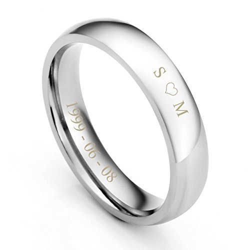Zysta Stainless Steel 4mm Wide Couples Rings Outer Inner Surface Custom Name Message Women Men Wedding Band Engagement Promise Finger Ring #8 (Engraving)