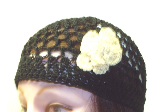 Cp156bw, Hand Crocheted Black Gimp Skull Cap with Crocheted White Gimp Rosette Skull Cap for Women, Teens and Petites.