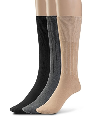 Silky Toes 3 or 6 Pk Men's Diabetic Non-Binding Cotton Dress Socks, Multi Colors Also Available in Plus Sizes... (10-13, Black/Grey/Tan - 3 - Socks Mens Top