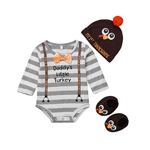 Infant Boys 1 Pc Outfit - Baby Boy Girl Thanksgiving Outfit Newborn Daddy's Little Turkey Long Sleeve Bodysuit My 1st Thanksgiving Hat Socks 3 Pcs Set (Daddy's Little Turkey Bodysuit, 9-12 Months)