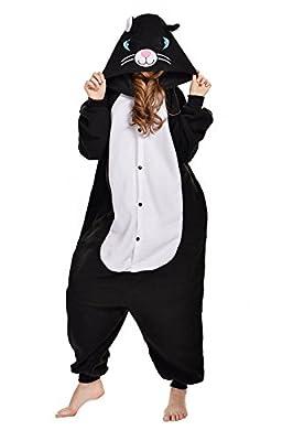 NEWCOSPLAY Black/White cat Costume Sleepsuit Adult Pajamas