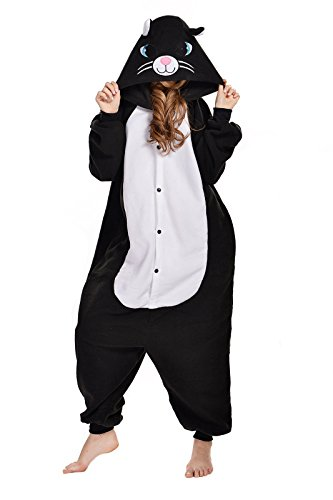 NEWCOSPLAY Black/White cat Costume Sleepsuit Adult Onesies Pajamas (L, Black Cat)