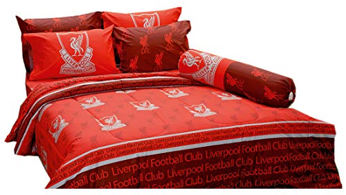 LFC Liverpool Fc Football Club Soccer Team Official Licensed Bedding Set, Fitted Bed Sheet, Pillow Case, Bolster Case, Comforter LI003 Set B+1 (Queen ()