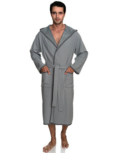 (TowelSelections Men's Robe, Cotton Lined Hooded Terry Bathrobe Large/X-Large Monument)
