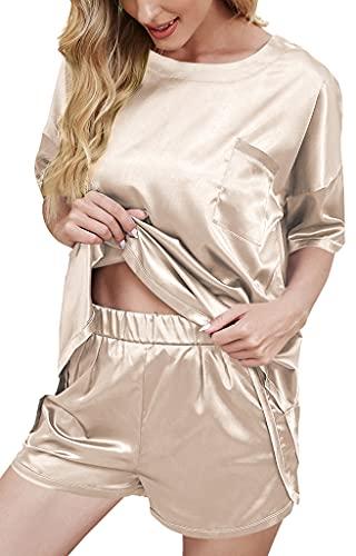 Dames Pyjama Set Satijn Korte Tweedelig Nachtkleding Thin Silk Pyjamas Ochtendjas voor Vrouwen Korte Mouwen T-Shirt en…