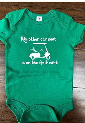 21c4d8854 Amazon.com: My other car seat is on the golf cart golfing baby bodysuit  future golfer one piece: Handmade