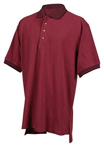 (Tri-mountain Mens cotton pique golf shirt with jacquard trim. - MAROON / BLACK - X-Large)