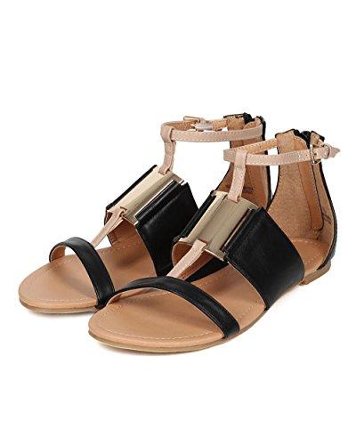 Geometric Liliana Square CE24 Women Sandal Flat Black Leatherette Leatherette Metal OCFrqXC