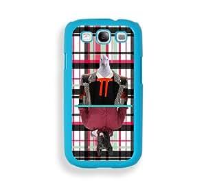 Hipster Style Plaid Mirror Dog & White Chicken Aqua Plastic Bumper Samsung Galaxy S3 SIII i9300 Case - Fits Samsung Galaxy S3 SIII i9300