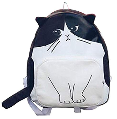 (vising Schoolbag Without Wheels, Cute Cat Backpack, Canvas Bag, Lightweight Casual Backpack, Brown/White@Brown/White)