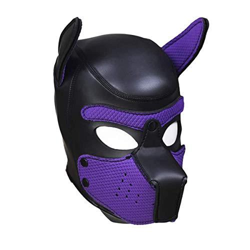 MyCHIC Neoprene Puppy Hood Novelty Dog Head Masks Full Face Mask Party Cosplay Costume (Purple)