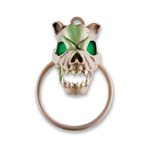 Collections Etc Animated Halloween Skeleton Front Door Knocker with Sounds, Light Up Green Eyes and Mouth, -