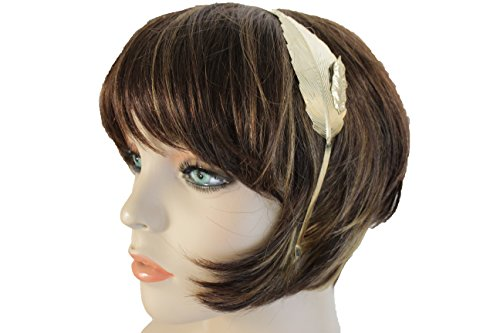 TFJ Women Head Band Halloween Side Fashion Trendy Jewelry Long Gold Metal Leaf Casual Look (Halloween Costume Contest Online 2017)