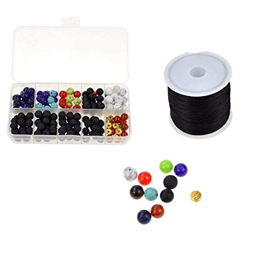 DerBlue 8mm 200pcs Colorful Chakras Beads with Lava Stone Beads for Jewelry Making Accessories,50 Meters Black Elastic Cord Stretch Thread Beading ()