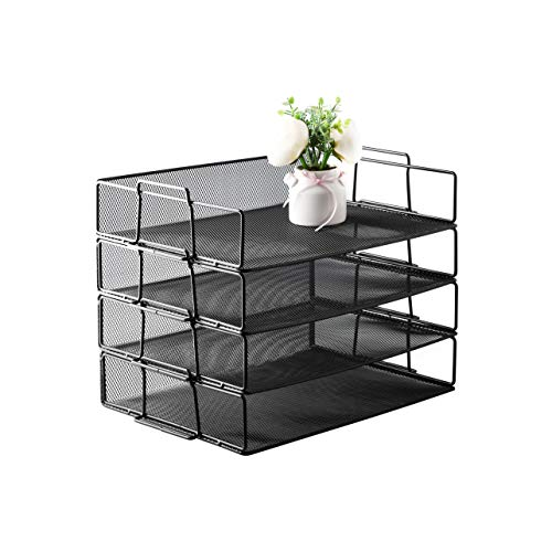 GrinBlack color file literature metal wire mesh tray desk organizerFor letter sized paper files mail organization Trays come in a 4tier set perfect for classification organization in office home