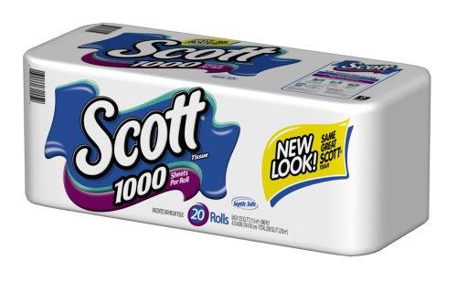 Scott Bath Tissue, White, 20-Count Packages