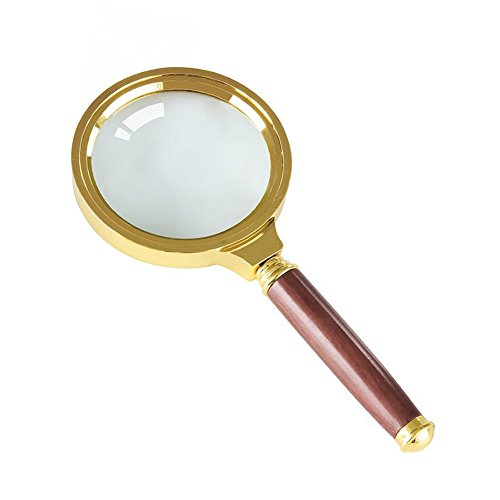 Feamos 70mm Handheld 5X Magnifier Magnifying Lens Loupe Glass for Reading Big Viewing - Lenses Plastic Between And Glass Difference