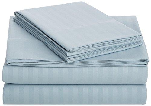 AmazonBasics Deluxe Microfiber Striped Sheet Set, Spa Blue, King by AmazonBasics