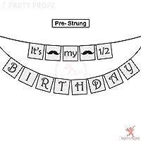 Party Propz Its My 1/2 Birthday Moustache Banner For Boy Half Birthday Decorations, 6 Months Birthday boy Decorations Or 1/2 Birthday Decorations for boy/ It is My 1/2 Birthday Banner for boy / 1/2 birthday boy decoration