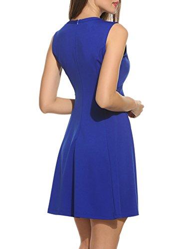 Acevog Women's Sleeveless A-line Lace Stitching Evening Party Cocktail Dress (Medium, Blue)