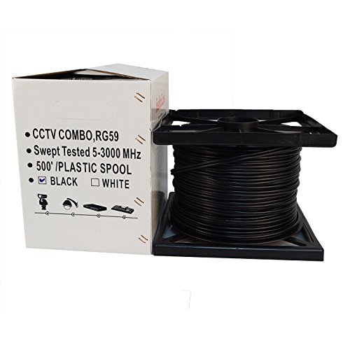 (Five Star Cable RG59 Coax 500ft Bare Copper Combo Cable Solid 20 AWG RG59 Video + 18/2 18 AWG Power Siamese Coaxial CCTV Cable ETL Listed Black)